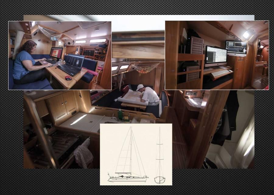 Portfolio Thera explorer, photo de l'intérieur de l'Alliage 44 avec le équipements du bord par Serge Briez
